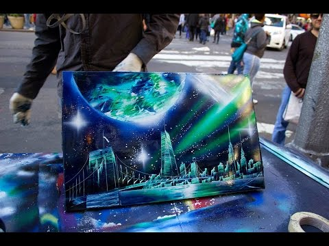 amazing new york city spray paint art in time square 2014. Black Bedroom Furniture Sets. Home Design Ideas